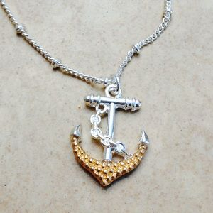 Two Tone Beach Nautical Anchor Pendant Necklace